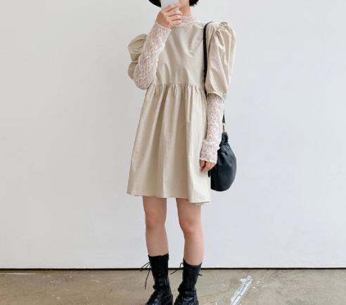 vestido beige baby doll